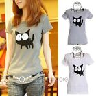 Hot Vintage Womens Cat Short Sleeve Round Neck Shirt Top Tee T-shirt Blouse 2015