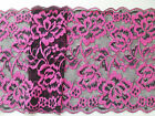 "~Stunning Black Rose Pink Stretch Lace 7""/19 cm Lingerie Costume"