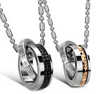 Couple Titanium Stainless Steel 'Eternal Love'Ring Pendant Necklace Promise Love