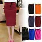 Fashion Womens High Waist Bodycon Slim Stretch Business Pencil Midi Skirt Dress