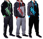 Mens Tracksuit Top Bottoms Sweatsuit Jogging Hooded Joggers Gym Sweat Trackies