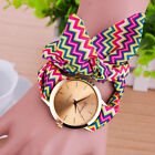 New Women Geneva Stripe Cloth Personality Dress Quartz Analog Wrist Watch