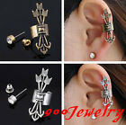 2pc Cupid Arrow Crystal Clip On Cuff Wrap Earring + Ear Stud Unisex Jewelry Punk