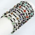 Gemstone Crystal Spacer Bead Braided Knitted Adjustable Bracelet Women Jewelery