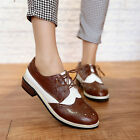 Mary Janes Women's Retro Brogues Lace Up Low Chunky Heel Loafers Shoes plus size