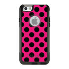 OtterBox Commuter for iPhone 5 5S SE 6 6S Plus Black & Hot Pink Polka Dots