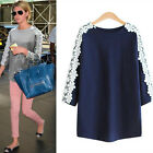 Women Autumn O-Neck Lace Crochet Blouse 3/4 Sleeve Loose Casual T-shirts Tops