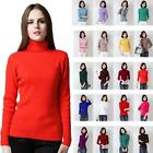 Womens Comfy Wool Top Cashmere Turtle Neck Jumper Winter Fashion Sweater Size