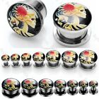 """Day Of The Dead Cameo Skull Beauty Stainless Steel Ear Tunnel Plugs 6G-9/16"""" Hot"""