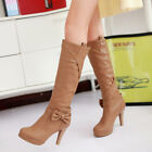 Fashion 2015 women sexy knee high boots winter bowknot high heels faux leather