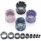 2x Gauge Colorful Dot Double Flared Steel Ear Tunnel Plugs Expander Body Jewelry