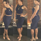Fashion Women Sexy Sleeveless Crop Top Pencil Skirt Set  Two Piece Clubwear Prom