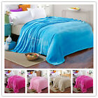 New 4 Sizes Soft Warm Plush Solid Bed Sleep Blanket Throw Rug Flannel Flat