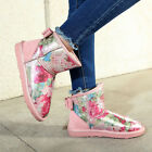 Womens winter snow boots rond toe patent leather floral printing mid calf shoes