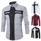 Fashion Mens Tops Casual Long Sleeve Slim Fit Button-Down Business Dress Shirts