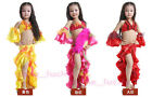 New Kid's Belly Dance Costume 3 Pics Top&Skirt&One pair Sleeve Size S/L 3 colors