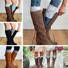 Fashion Womens White Lace Trim Stretch Leg Warmer Socks Boot Sock Toppers Cuffs