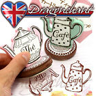 Novelty Wooden Rubber Stamps Coffee Tea Pot Scrapbooking Table Place Card Holder