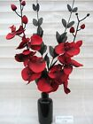 NEW SILK FLOWER ARRANGEMENT IN VASE:* RED & BLACK*Ideal  Gift/Home Decor*