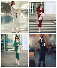 Autumn Winter Sexy Women's Long Sleeve Cotton Warm V-Neck Long Maxi Dress Tops