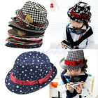 10 Style Kid Boy Girl Fashion Flat Top Fedora Cap Sun Hat Blues Jazz Dance