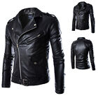 New Handsome Men's Slim PU Leather Biker Overcoat Jacket Motorcycle Outwear Coat