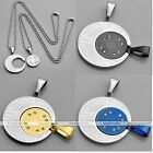 2x Stainless Steel Crystal Jigsaw Joint Pendant Chain Necklace Lover Couple Gift