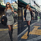 Spring Women's Dew Shoulder Long Sleeve Slim Nightclub Cotton Knit Mini Dress