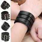 Men Women Punk Cool Super Width Belt Genuine Cow Leather Bracelet Wristband Cuff