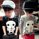 2016 Spring Baby Girls Child Kids Boys Monster Letter M Long Sleeve T-Shirt 2-7Y
