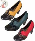BANNED NITA 40s Vintage Syle LACE UP SHOES heels RED, BLUE & YELLOW