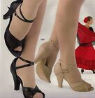 Latin Ballroom shoes open toe Sandal 3580 Suede leather  mesh strappy