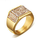 High Quality Crystals CZ 18k Gold Plated Stainless Steel western Mens Ring Bling