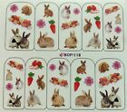 Nail Art Water Decals Bunnys Rabbits Easter Spring Flowers Carrots BOP118