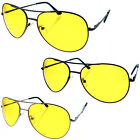 HD Aviator Sunglasses Driver Night Vision Driving Glasses Yellow Lens Safety Men