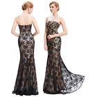 Vintage Black Lace Formal Evening Ball Gown Masquerade LONG Prom Dress Size 6-18