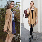 Bloggers fashion faux suede Tassels FRINGE Coat Jacket S M L