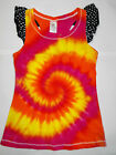 GIRLS RAINBOW TIE DYE / DYED FUNKY SINGLET TOP WITH FRILL SIZES  9 & 10