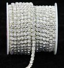 Внешний вид - 10 Yard Silver & Gold Glass Rhinestone DIY Close Chain Clear Trim Sewing Craft
