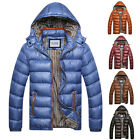 Mens Thicken Jacket Crosshatch Coat Bubble Quilted Wadded Hooded Winter Overcoat