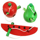 Threading Toy Infant Children Wooden Fruit Kids Wood Lacing Activity Puzzle Game