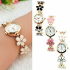 Fashion Women Girls Daisies Flower Rose Golden Bracelet Analog Wrist Watch