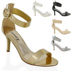 WOMENS STILETTO MID HEEL ANKLE STRAP LADIES PARTY BUCKLE STRAP SANDALS SHOES 3-8