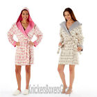 Ladies Fairisle Hooded Fleece Robe/Dressing Gown Grey Pink 10,12,14,16,18,20