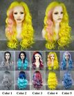 "24""Front lace long wave yellow with pink blue purple synthetic party cosplay wig"