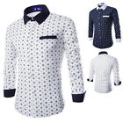 Fashion Mens Casual Print Formal Dress Long Sleeve Polo Slim Fit Shirts Tops Tee