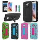 For Samsung Galaxy S6 Hybird ShockProof Rubber Hard Stand Cover Case+Stylus+Film