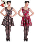 HELL BUNNY IDAHO sugar skull MINI DRESS floral BLACK RED