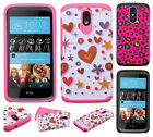 For HTC Desire 526 HARD Hybrid Rubber Silicone Case Phone Cover + Screen Guard
