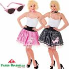 1950's ROCK N ROLL Fancy Dress POODLE SKIRT Black Pink Polka Dot Hen Party